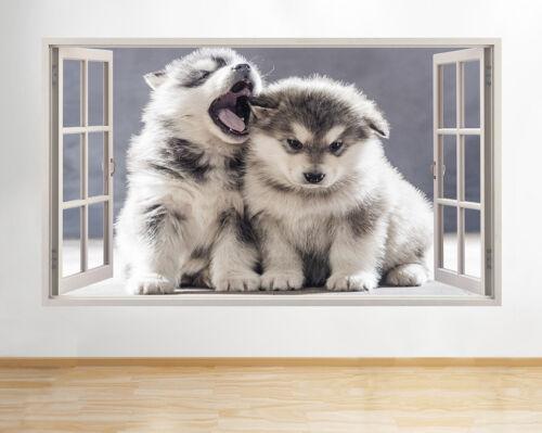 H783 Husky Cachorros bostezar lindos animales windiow la etiqueta de la pared 3D Art Stickers Vinyl Habitación
