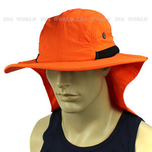 Details about Boonie cap Sun Flap Bucket hat Ear Neck Cover Sun Protection  Soft material -Neon c2cf7294153