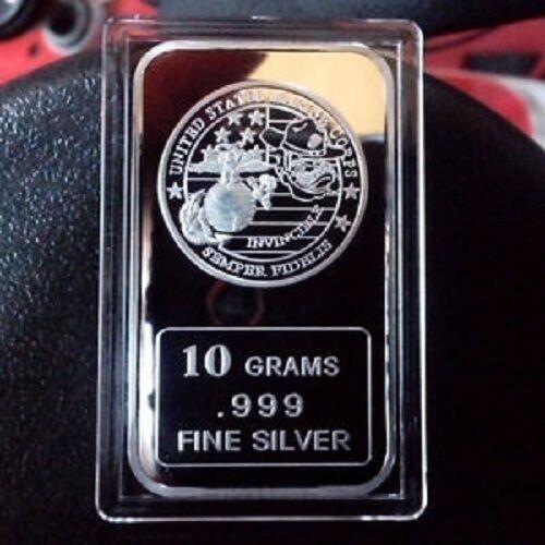 """/""""USMC Invincible/"""" design Military 10 grams .999 Fine Silver bar"""