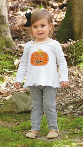 Mud Pie Girl Tunic Top Leggings Pants Set Pumpkin Applique Halloween Set 1112317