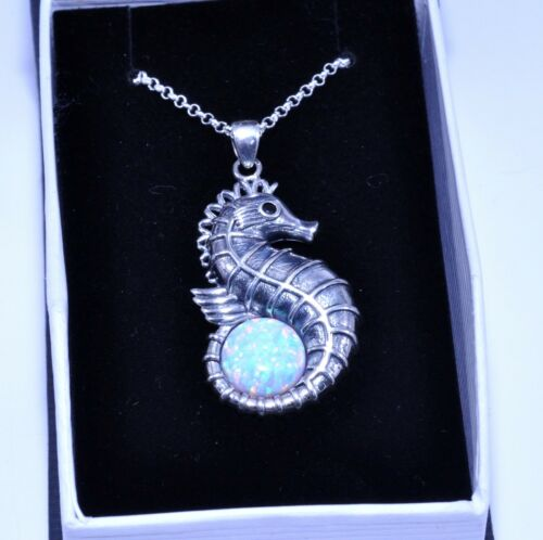 Fire Opal Seahorse Necklace 10mm Round Cabochon .925 Sterling Silver