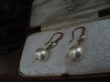Vintage Jewellery 10mm Pearl  Drop Hook Pierced Earrings. Antique Gold Plate