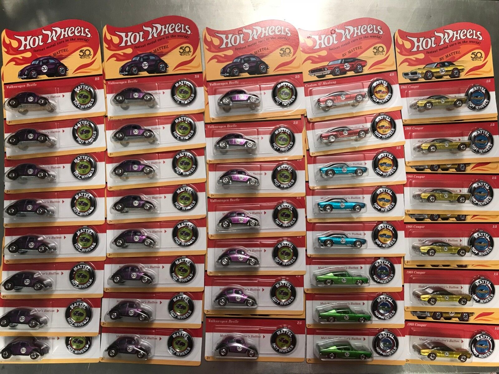 37 x hot wheels lot 50TH ANNIVERSAIRE CHEVY CAMARO MUSTANG VW Beetle rougeline