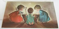 Unused Vtg Christmas Card Cute Angels w Lamb & Doves Looking into Manger
