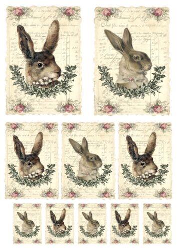 Stanzteile-Kartenaufleger-Scrapbooking-Basteln-Vintage-Ostern-Hase-Rabbit-40053