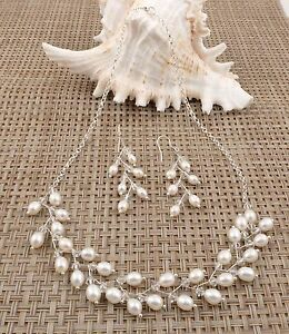 Fine-Freshwater-Rice-Pearl-on-Sterling-Silver-Chain-Necklace-with-Earrings