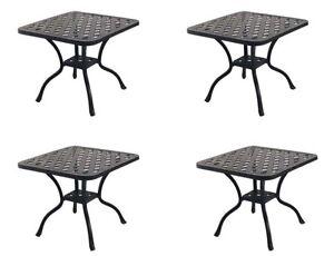 "Patio 21"" Square End Table Nassau set of 4 Cast Aluminum Pool Side Furniture"