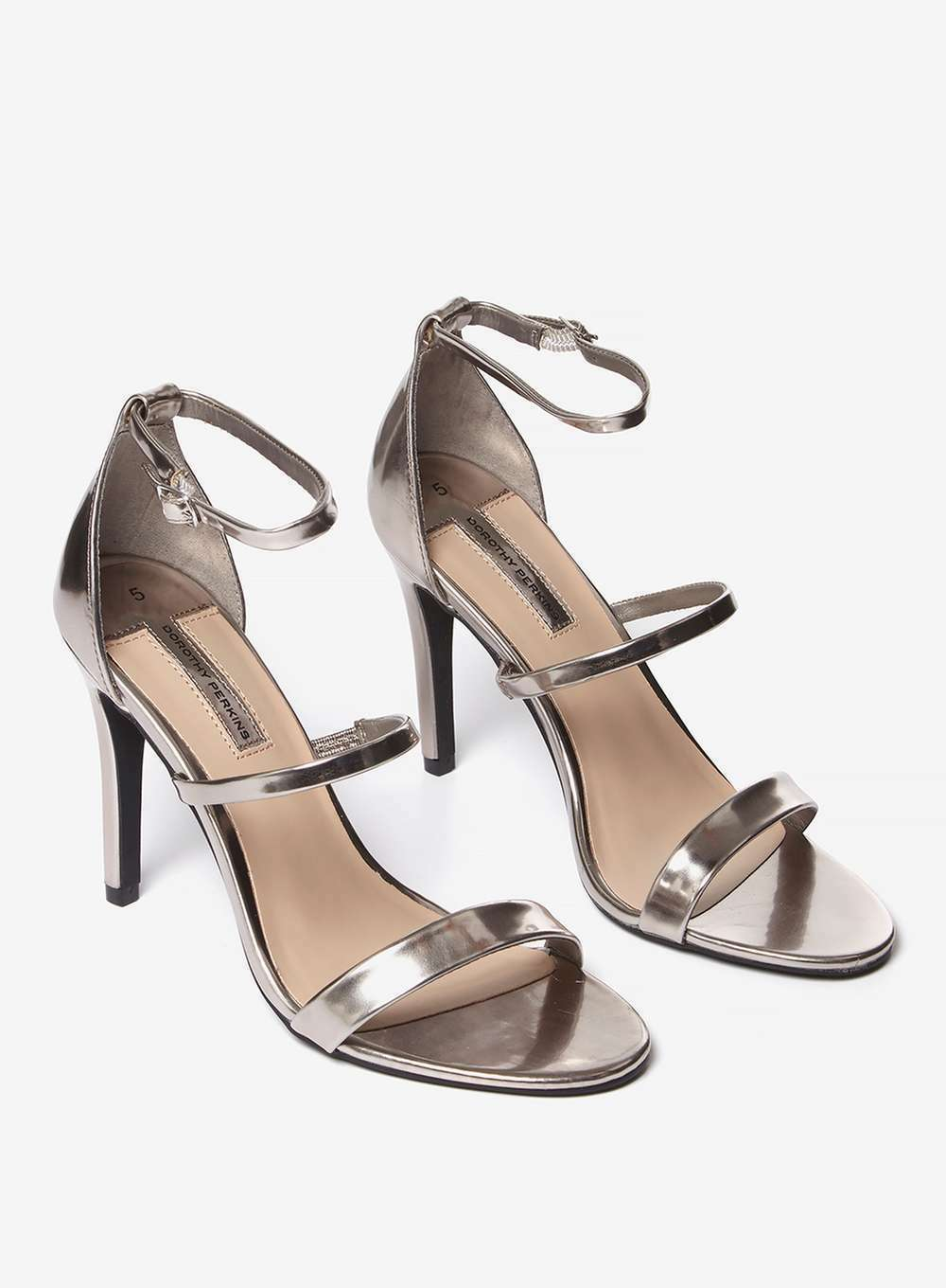 Dgoldthy Perkins white Heeled Triple Strap Sandals shoes Size 7   Pewter