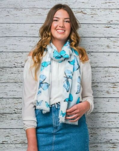 Ladies Scarf Large Butterflies White /& Turquoise 95cm x 170cm Face Covering