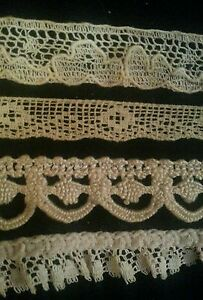 Antique-Sewing-Lace-Trims-Dainty-German-French-Doll-Remnants-Blythe-Edging