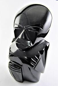 CARVED BLACK STONE MALE FIGURINE STATUE SCULPTURE (A36)