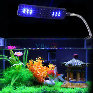 48 Led 3 Mode White Amp Blue Aquarium Clip Lamp Light For