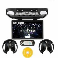 """15.6"""" HD LCD Car Flip Down Overhead Roof Mount Monitor DVD Games Player Headsets"""