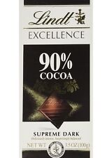 LINDT EXCELLENCE SUPREME DARK 90% COCAO CHOCOLATE BAR 100g 3.5 OZ