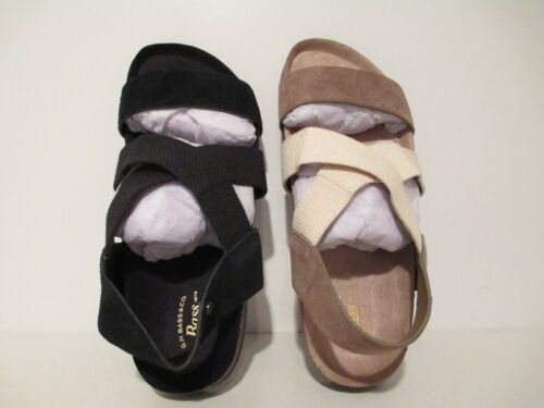 Bass Womens Harlem Suede Fabric Slingback Sandals Black or Sea Rock Size 8 6.5 6