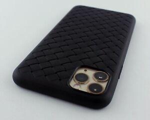 Black-TPU-Braid-Leather-Feel-Semi-Soft-Case-Cover-for-Apple-iPhone-11-Pro-Max