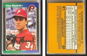 Alex Madrid Signed 1989 Donruss #604 Card Philadelphia Phillies Error Auto