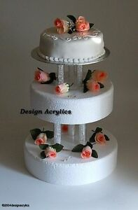 Three Tear Wedding Cakes.Details About 2 X Fillable Acrylic Separators Stands For 3 Tier Wedding Cake