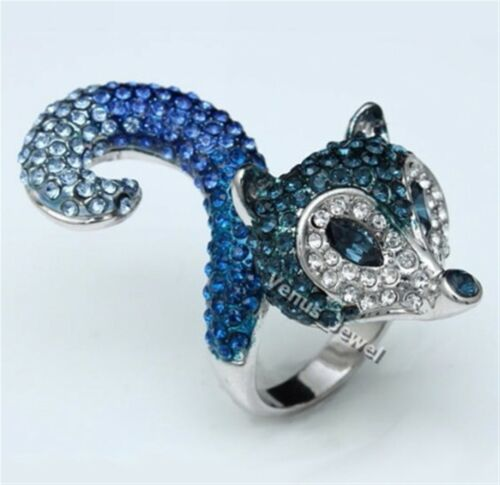 Lovely Cute Foxy Fox squirrel Rhinestone Crystal Cocktail Ring Size 7