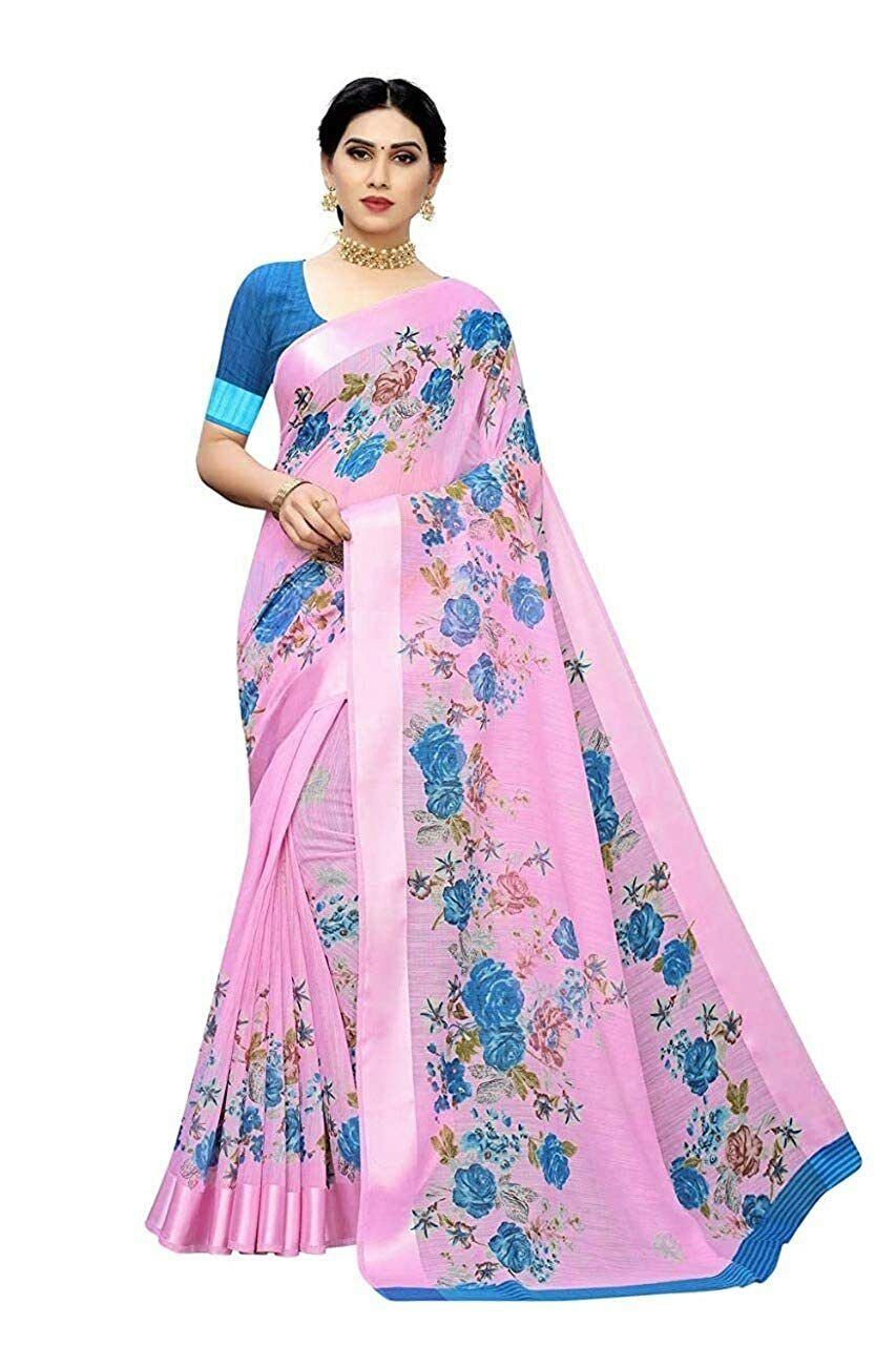 Indian Women's Linen Cotton Printed Saree With Blouse Piece with Free Shipping