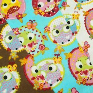 Venta 100/% tela de algodón bebé pequeño Buhos En Círculos Lunares 145cm de ancho