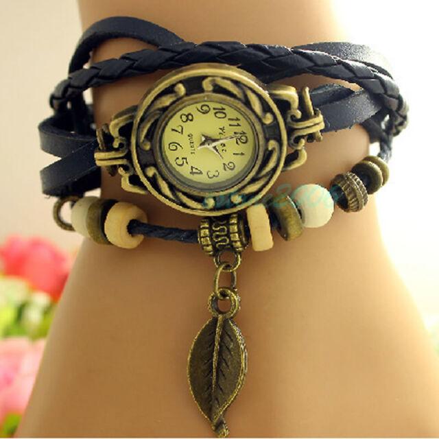 Women New Design Retro Leather Bracelet leaf Decoration Quartz Wrist Watch