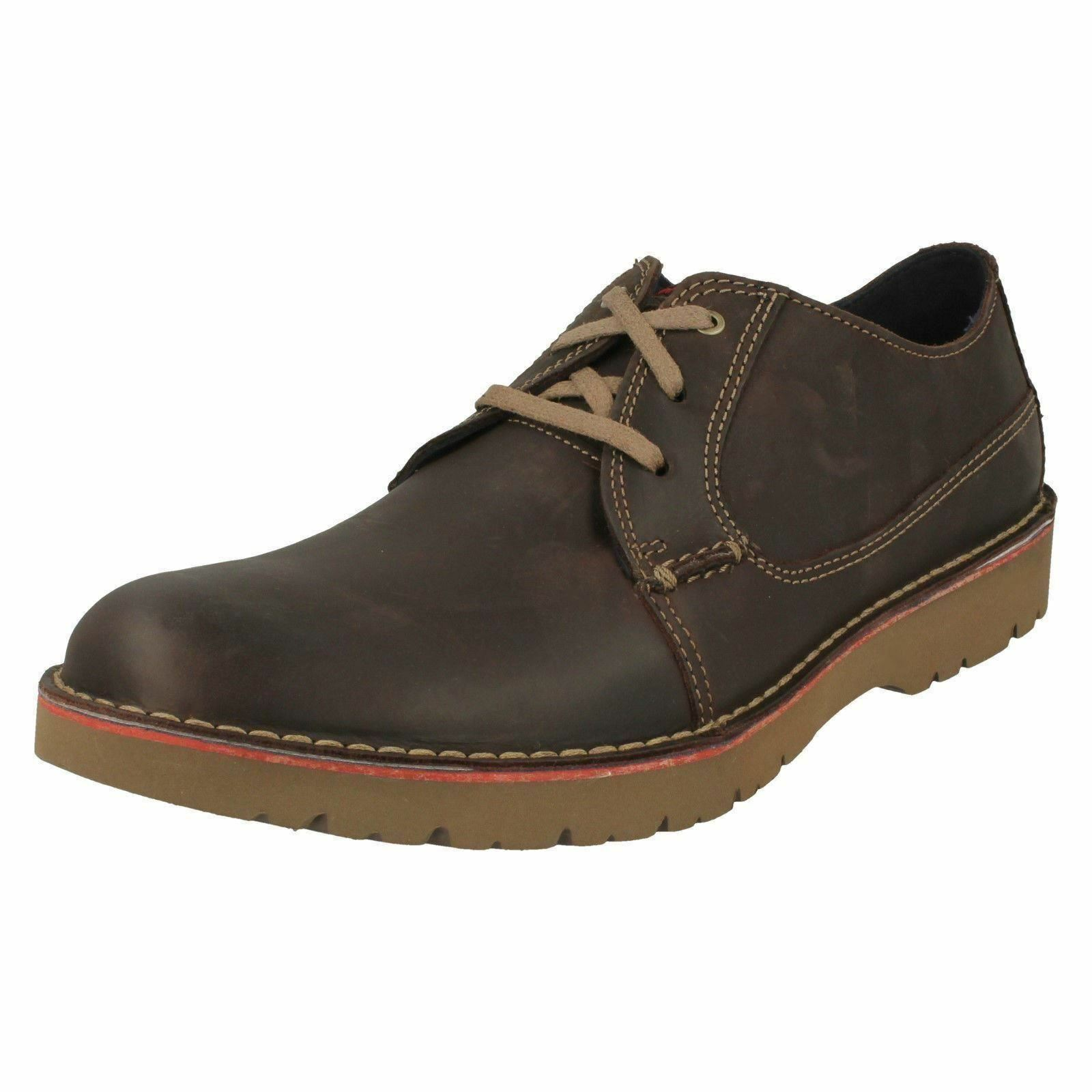 Herren Clarks Clarks Clarks Vargo Plain Casual Leder Lace Up Schuhes G fitting 2e1497