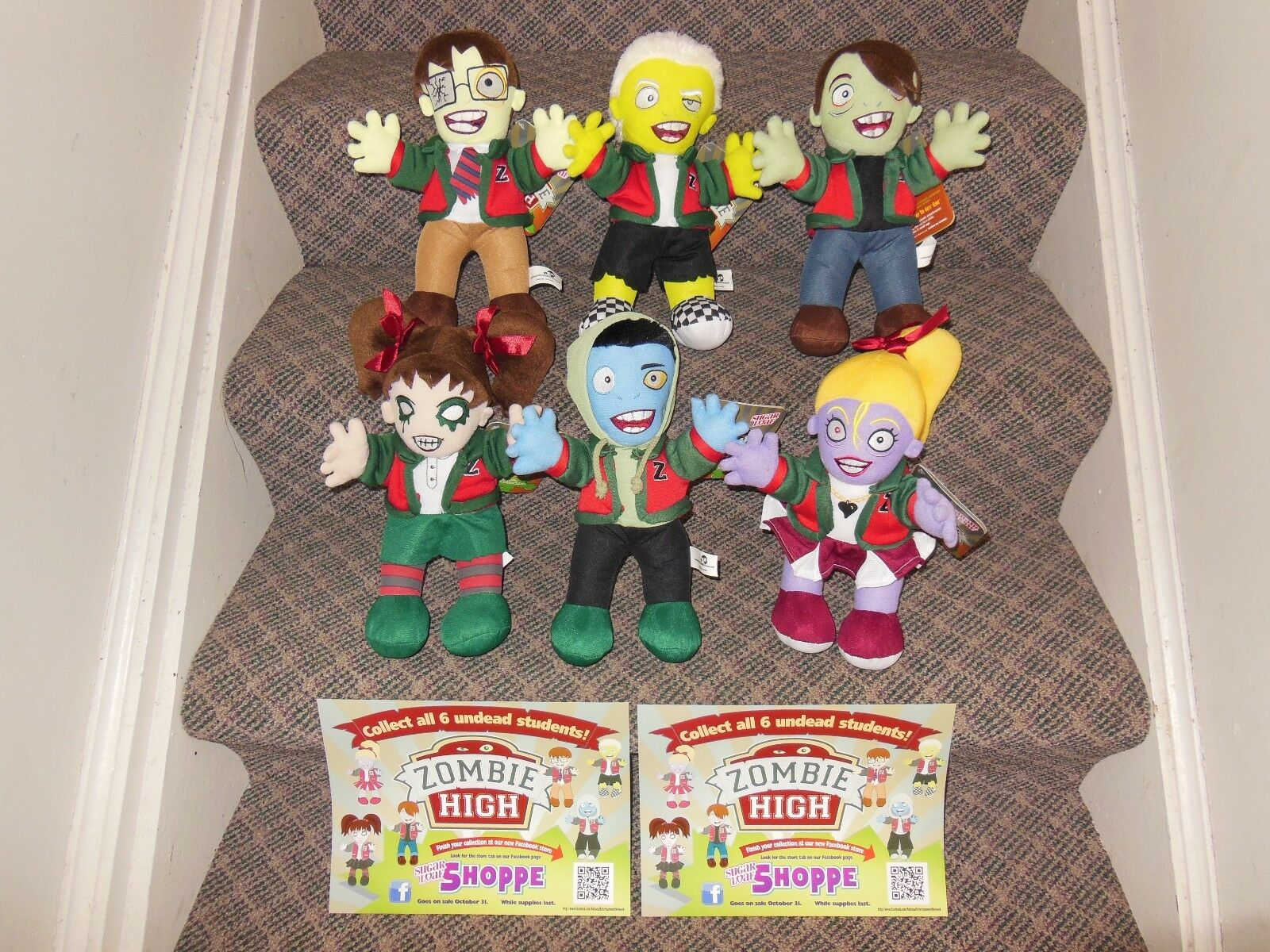 All 6 Zombie High School Undead Students Cheerleader Squad Sugarloaf Plush Set