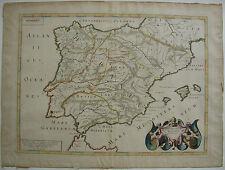 Spanien España altkolor Kupferstichkarte mapa Tavernier 1640 Balearen