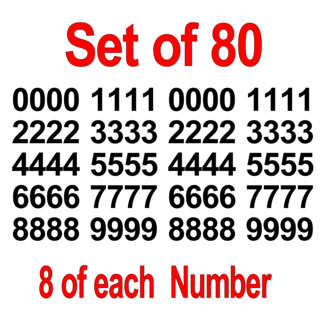 """1/"""" To 12/"""" Set Of 40 0-9 Numbers Green Sticker Vinyl Decals CHOOSE SIZE! V646"""