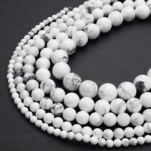 Natural-White-Howlite-Beads-4mm-6mm-8mm-10mm-12mm-Round-15-5-034-Full-Strand