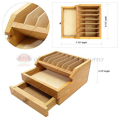Wooden Plier Organizer w/ Drawer 7 Compartment Rack Jewelers Tool Storage Hobby