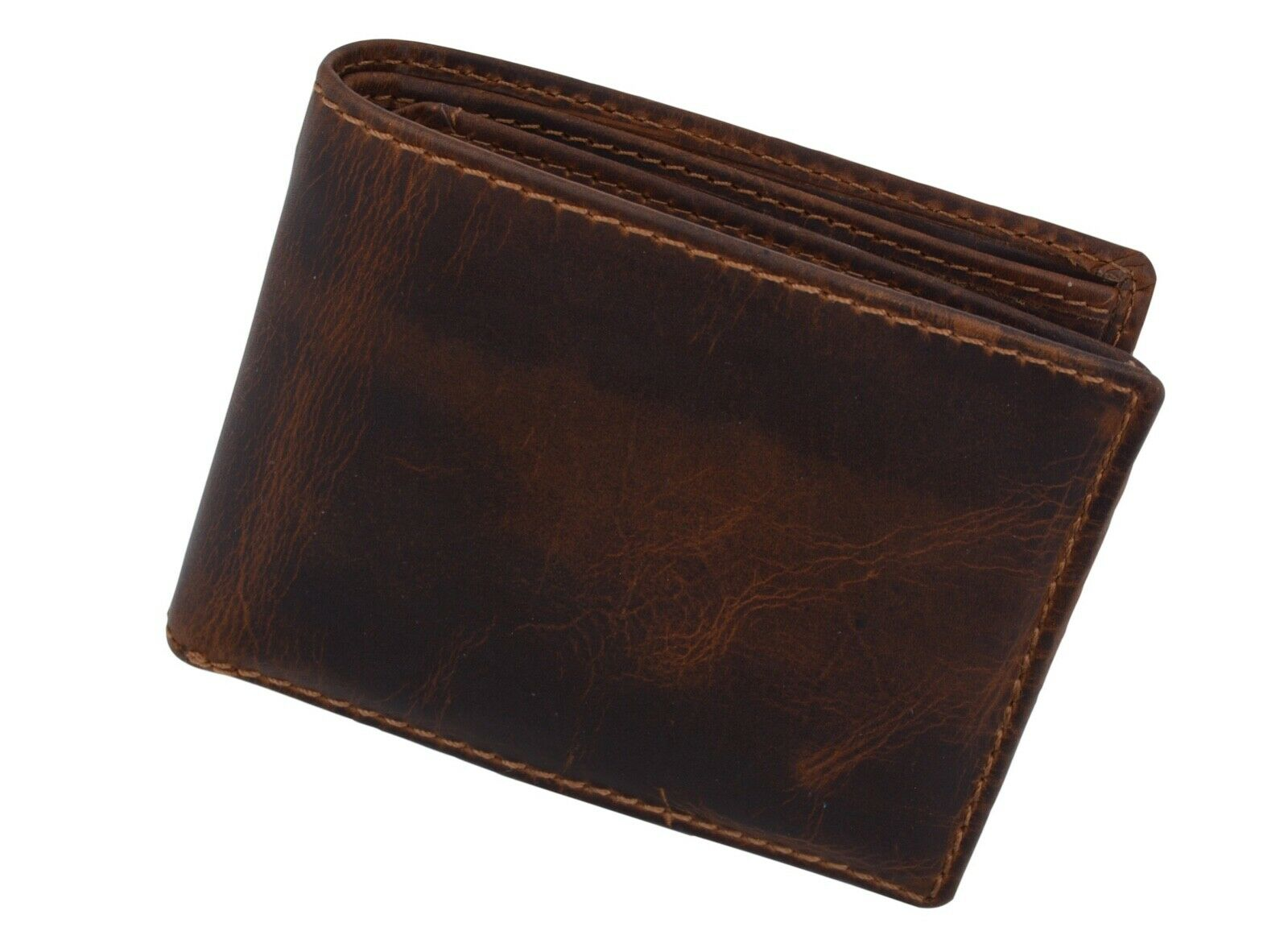 Brown RFID Blocking Vintage Genuine Leather Men's Bifold Wallet Card Center Flap