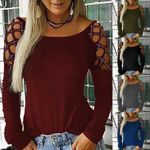 Femme-Manches-Longues-Shirt-evides-Casual-Mode-Couleur-Unie-Strass-Hauts-Blouse