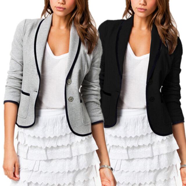 Women Blazer Casual OL Short Collar Slim One Button Jacket Suit Coat Outwear New