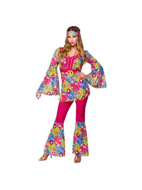 Adult Feelin Groovy Hippy Outfit Fancy Dress Costume 60s Hippie Flower Power
