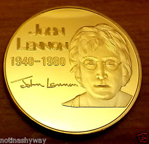 JOHN-LENNON-Gold-Coin-Give-Peace-a-Chance-Rainbow-CND-Symbol-Pop-Music-Liverpool