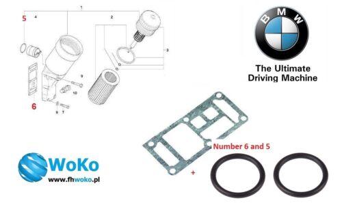 BMW OIL FILTER HOUSING GASKET + O RING SET M43 E30 E36 E46 E34 Z3 11421709800