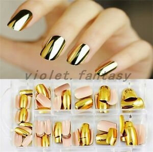 Gold Silver Metallic Fake Press On Nails Chrome Fashion ...