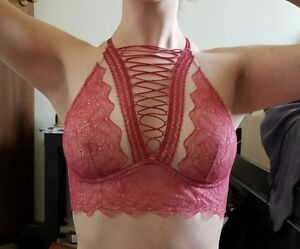 76db5080632 NEW M Victoria s Secret Very Sexy Lace-Up High Neck Rose Pink Lace ...