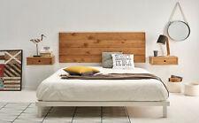 Hogar24- Cabecero madera maciza natural encerada + 2 mesitas flotantes con cajón