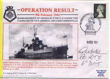 HMS SHEFFIELD NAVY SIGNED 1988 OPERATION RESULT WORLD WAR 2 BOMBARDS GENOA 1941