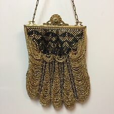 Mandalian Purse Metal Mesh Black Draped Gold Glass Beads Frame Bag Flapper Deco