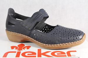Tacón Bailarina Detalles De SuelaAzul Mocasines Zapatos Rieker Nuevo 41399 Suave 76vIbfyYg