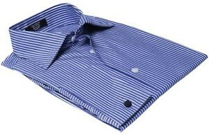 Labiyeur-Men-039-s-Slim-Fit-French-Cuff-Striped-Dress-Shirt-Blue-White