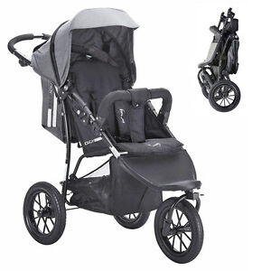 Knorr-bebe-Voiture-de-Sport-Buggy-Poussette-Joggy-Active-exclusif-en-Noir-Gris