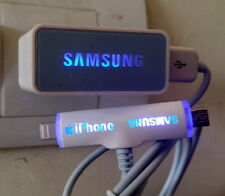 2 USB Port Glow Sign USB Adapter with Glow Sign Cable for iPhone 5, 6 & Samsung