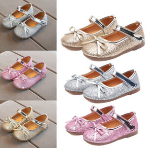 Children Toddler Kids Baby Girls Bling Bow Princess Shoes Hollow Sandals Shoes