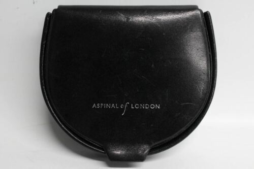 ASPINAL OF LONDON Black Smooth Leather Pocket Horseshoe Coin Pouch Wallet