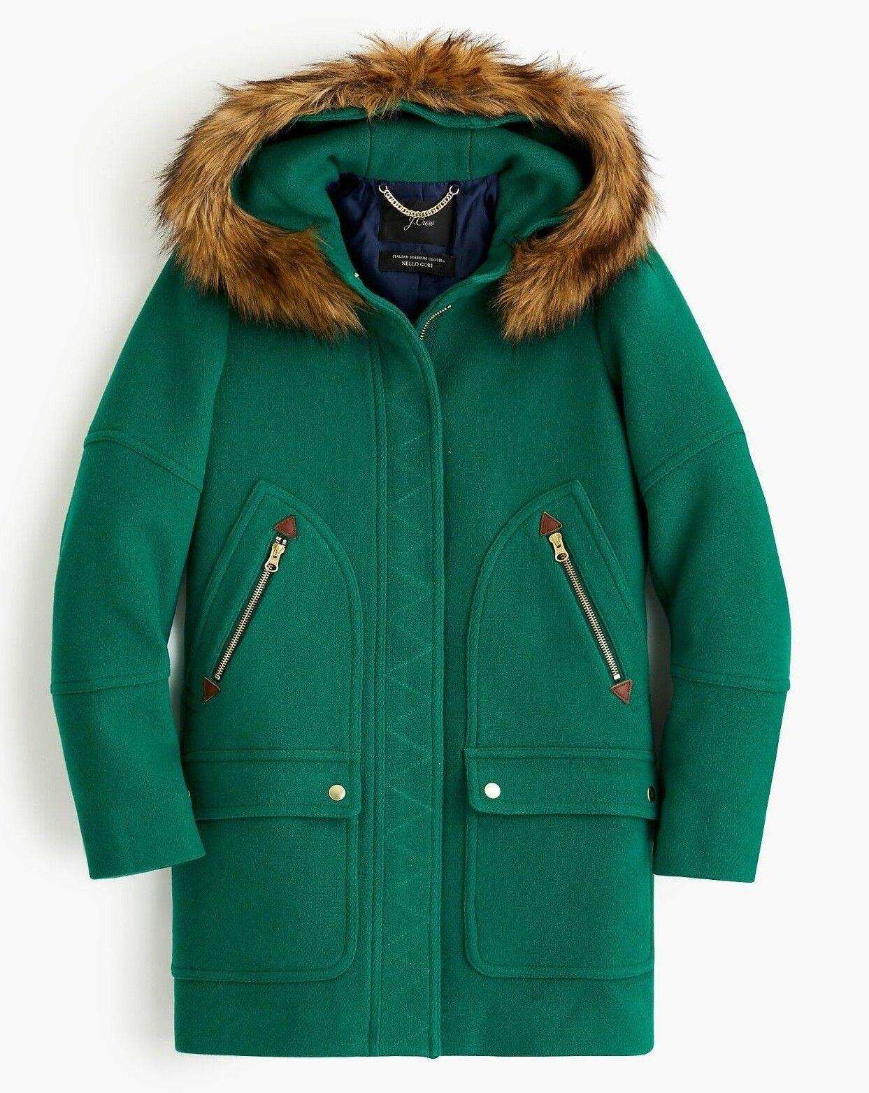 NWT JCrew  Chateau Parka in Italian Stadium-Cloth Wool 6 ALPINE  J5488 Coat